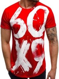 Módní červené tričko OZONEE B/181520