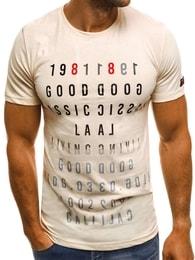 Bežové zajímavé pánské tričko OZONEE MECH/2044