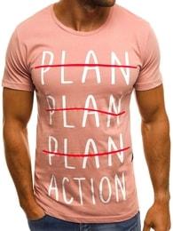 Pánské růžové tričko OZONEE MECH/2097T - S
