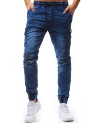 Dstreet Nebesky modré jogger kalhoty s černou šňůrkou
