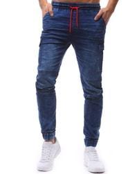 Dstreet Nebesky modré jogger kalhoty s kontrastní šňůrkou