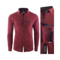 Červená košile s modrými detaily