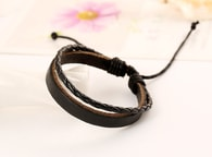 Jednoduchý černý kožený pánský náramek