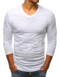 Dstreet Jednoduché bílé tričko s dlouhým rukávem