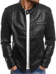 Pánská černá koženková bunda NATURE 5008/18
