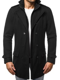 Trendy pánský černý kabát OZONEE JS/NZ02 - S