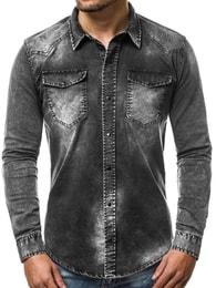 Zajímavá černá košile OZONEE OT/2063 - XL
