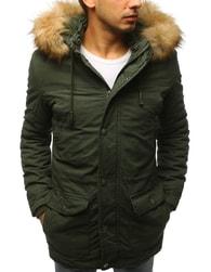 Dstreet Zelená zimní bunda s kapucí - XXL