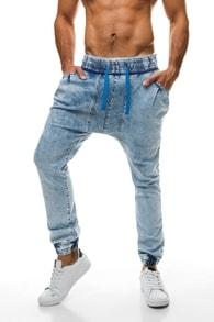 Pohodlné světle modré džínové kalhoty 801 - XL