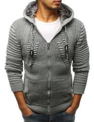 Dstreet Trendy šedý svetr s kapucí - L