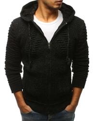 Dstreet Atraktivní černý svetr s kapucí - L
