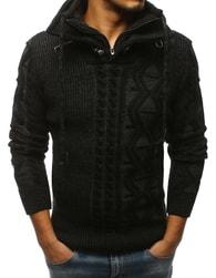 1c966cab720 Dstreet Černý svetr s módním vzorem