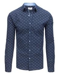 71156b203d9 Dstreet Tmavě modrá SLIM FIT košile s puntíky