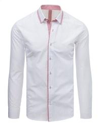 Dstreet Stylová bílá košile s červeným lemem debee7d960