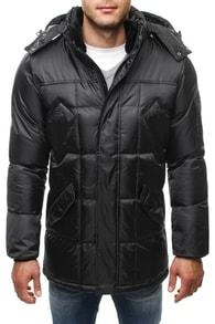 Lesklá černá zimní bunda 5505
