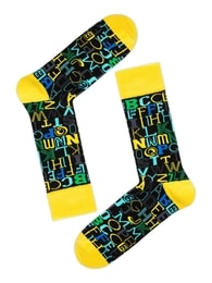 d9a596f8a39 Žluté písmenkové pánské ponožky OZONEE 017 - 41-46