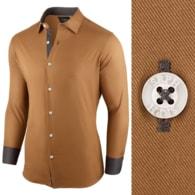Seraphstore.com Pánská košile velbloudí barvy s dlouhým rukávem