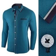 Seraphstore.com Tyrkysová pánská slim fit košile e92e2a1853