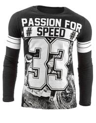 Černé atraktivní pánské triko s potiskem 33